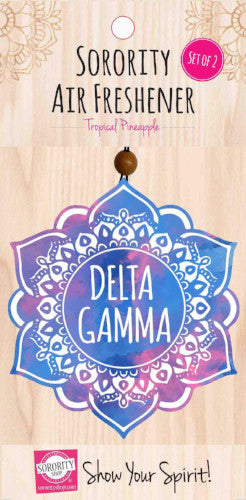 Delta Gamma air freshener, tropical pineapple for your sorority car or dorm room