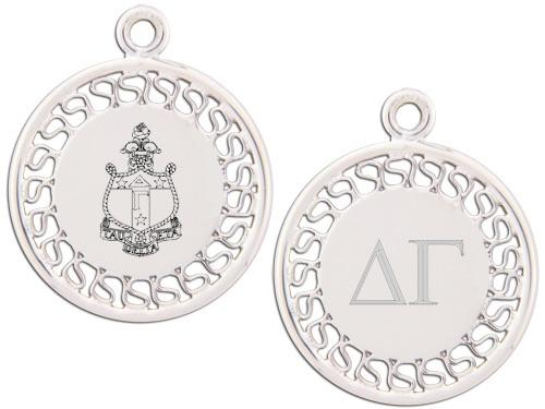 Delta Gamma charm. Reversible filigree design with Greek Letters & Greek Crest.