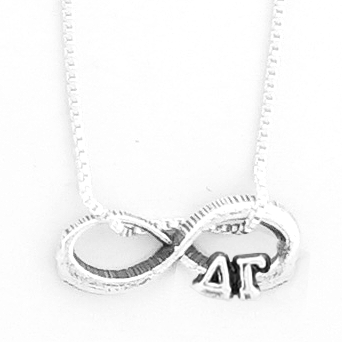 Delta Gamma infinity charm in sterling silver with Greek letters.