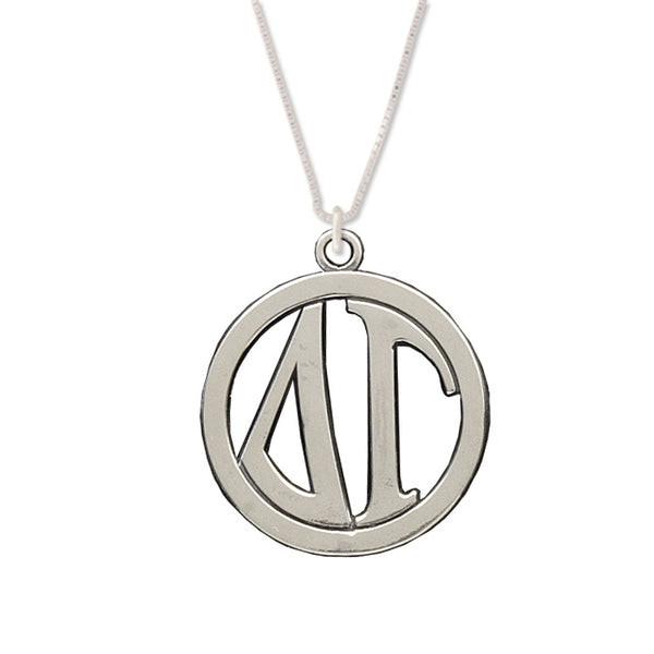 Delta Gamma Charm: Large Greek Monogram in Beautiful Sterling Silver