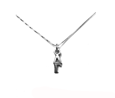 Delta Gamma Lavaliers sterling silver. Add a 16 in, 18 in, or 20 in sterling silver box chain. Is it a gift? Let us ship for you in a gift box tied with ribbon and a handwritten gift card.