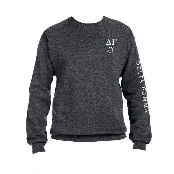 Delta Gamma Little Crew Sweatshirt with Greek Letters and Sorority Name Down Arm
