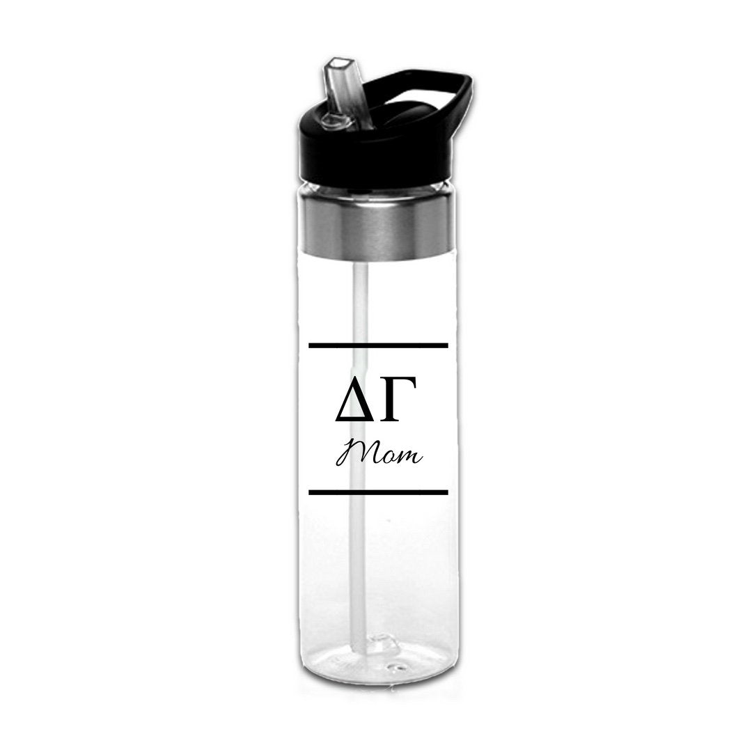 Delta Gamma Water Bottles with Greek Letters in black or gold with optional personalization. Super cute sorority gift filled with jelly beans or their favorite candy. Features screw off lid so fill it to the top with ice!
