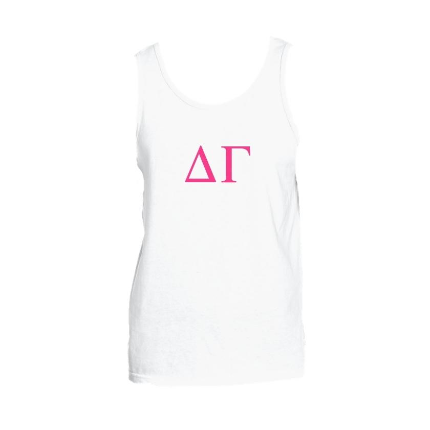White and Pink Delta Gamma Tank top with Large Greek Letters on front. Perfect sorority tank top for swimsuit coverup or oversized nightshirt.