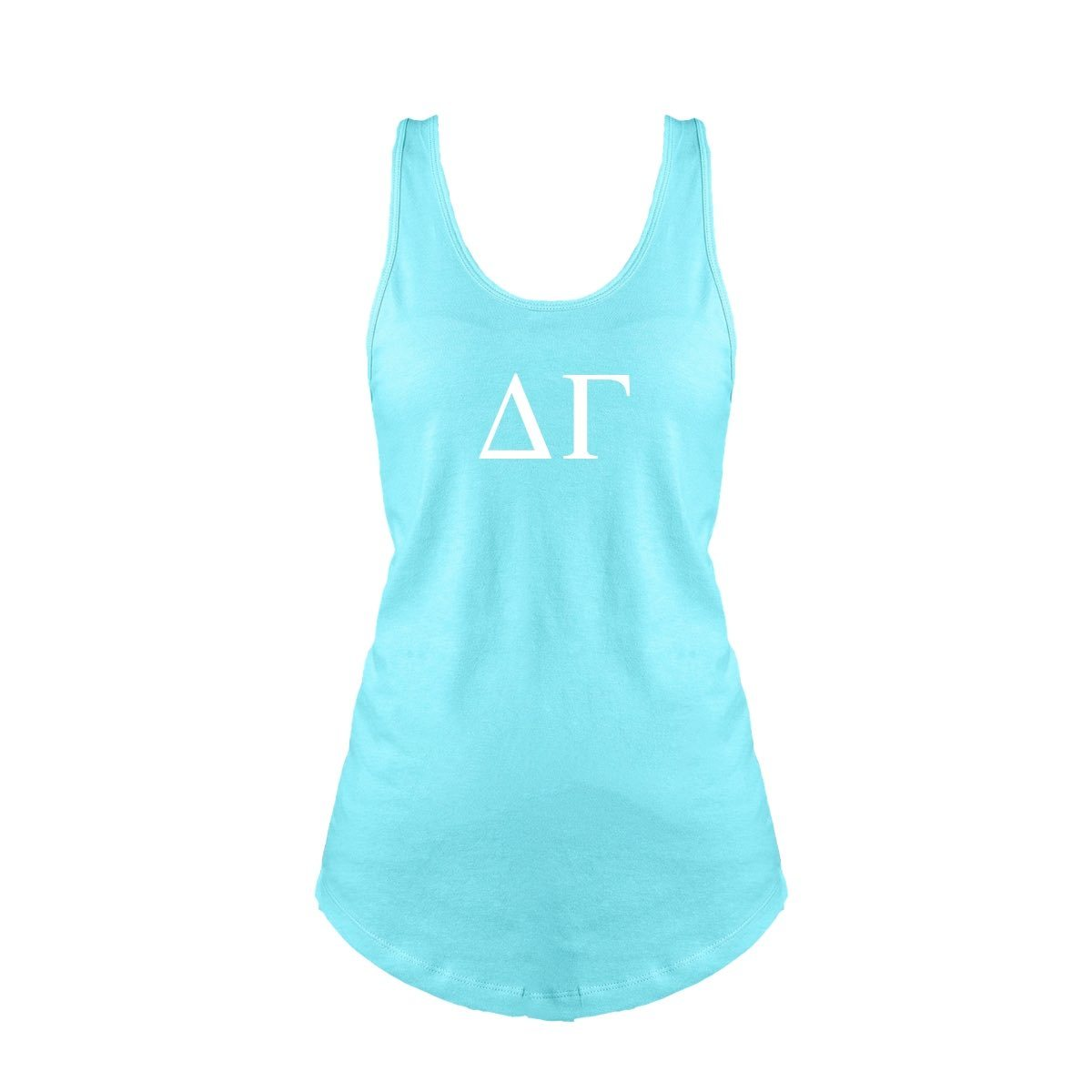 Aqua Delta Gamma Tank top with Large Greek Letters on front. Perfect sorority tank top for swimsuit coverup or oversized nightshirt.
