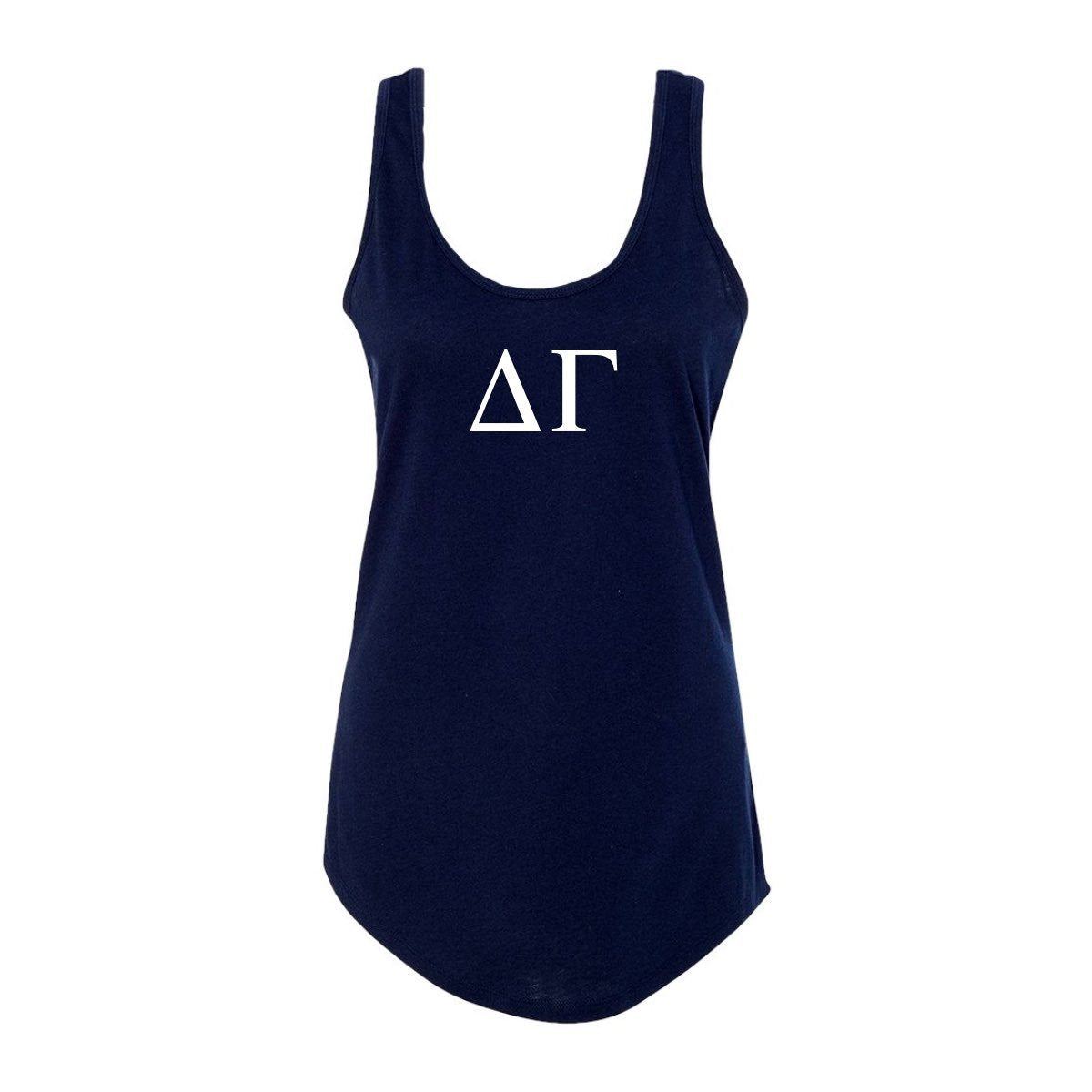 Navy Blue Delta Gamma Tank top with Large Greek Letters on front. Perfect sorority tank top for swimsuit coverup or oversized nightshirt.