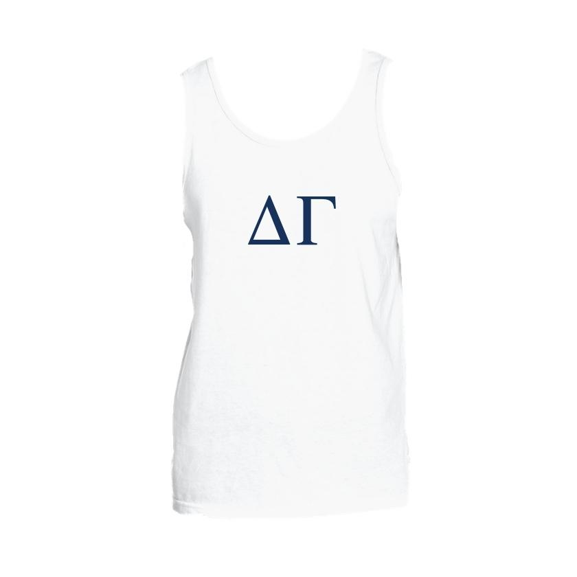 Delta Gamma Tank top with Large Greek Letters on front. Perfect sorority tank top for swimsuit coverup or oversized nightshirt.