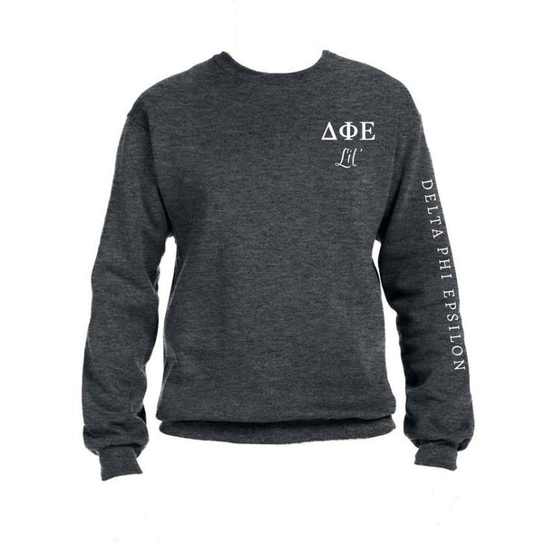 Delta Phi Epsilon Little Crew Sweatshirt with Greek Letters and Sorority Name Down Arm