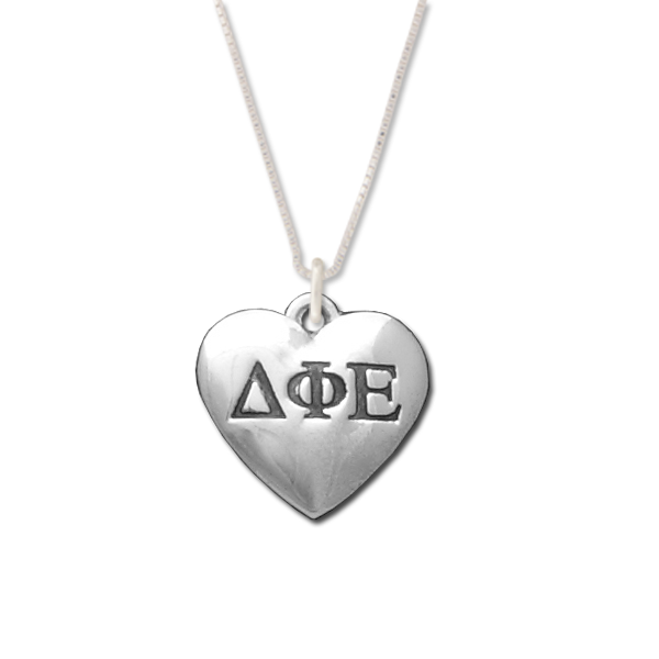 Delta Phi Epsilon charm in sterling silver for a beautiful sorority necklace.