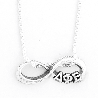 Delta Phi Epsilon infinity charm in sterling silver with Greek letters.