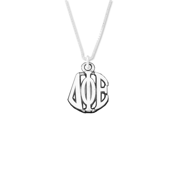 Delta Phi Epsilon Charm Sterling Silver Monogram Circle Drop. Chains available.