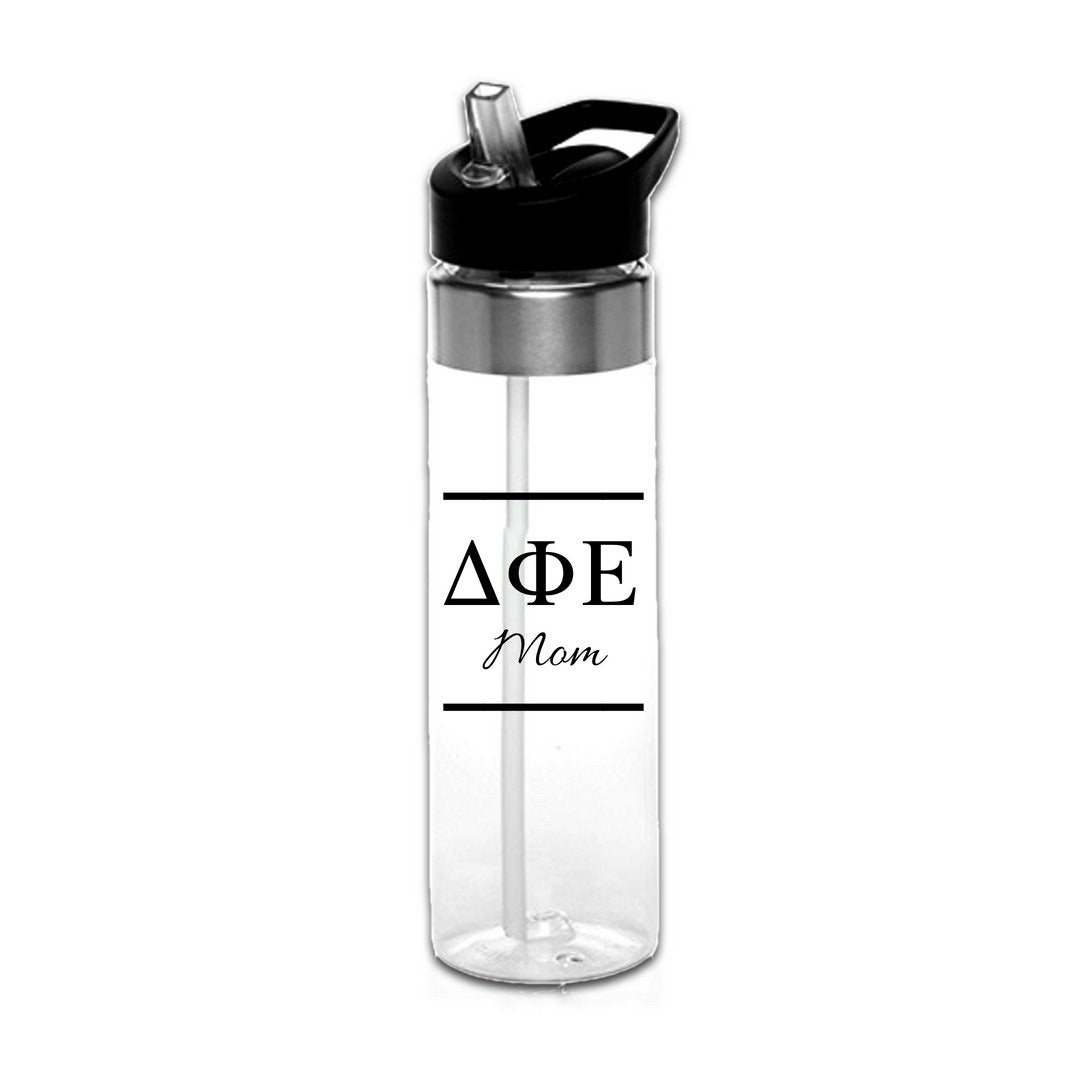 Delta Phi Epsilon Water Bottles with Greek Letters in black or gold with optional personalization. Super cute sorority gift filled with jelly beans or their favorite candy. Features screw off lid so fill it to the top with ice!