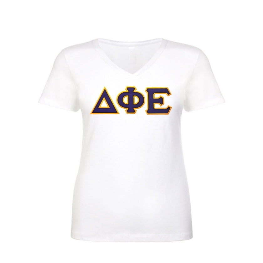 Delta Phi Epsilon shirt with two layer stitched Greek Letters. commercial sitched to last. Sewn Greek letters that will last longer than your shirt!
