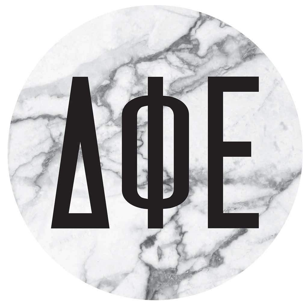 Delta Phi Epsilon Marble round sticker and decal. Cute as a bumper sticker, on a notebook, on a laptop, on a window. Affordable alumnae and big little gifts.