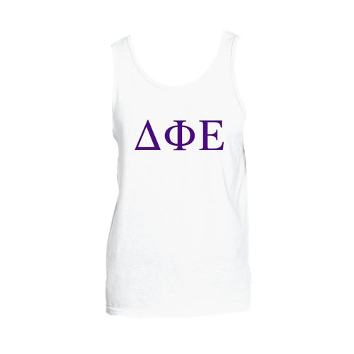 Delta Phi Epsilon Tank top with Large Greek Letters on front. Perfect sorority tank top for swimsuit coverup or oversized nightshirt.