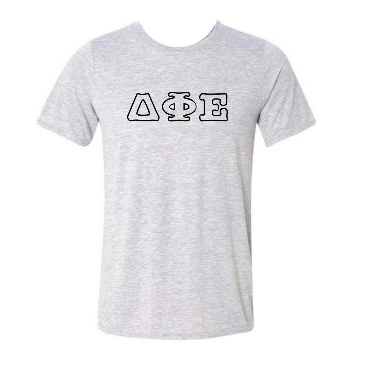 Delta Phi Epsilon T-shirt with black outline Greek Letters