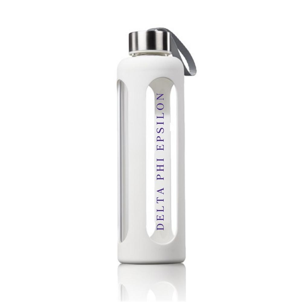 Delta Phi Epsilon Water Bottle I Glass & Silicone I Greek Words