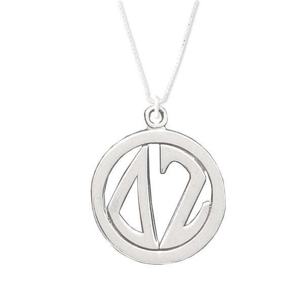 Delta Zeta Charm: Large Greek Monogram in Beautiful Sterling Silver