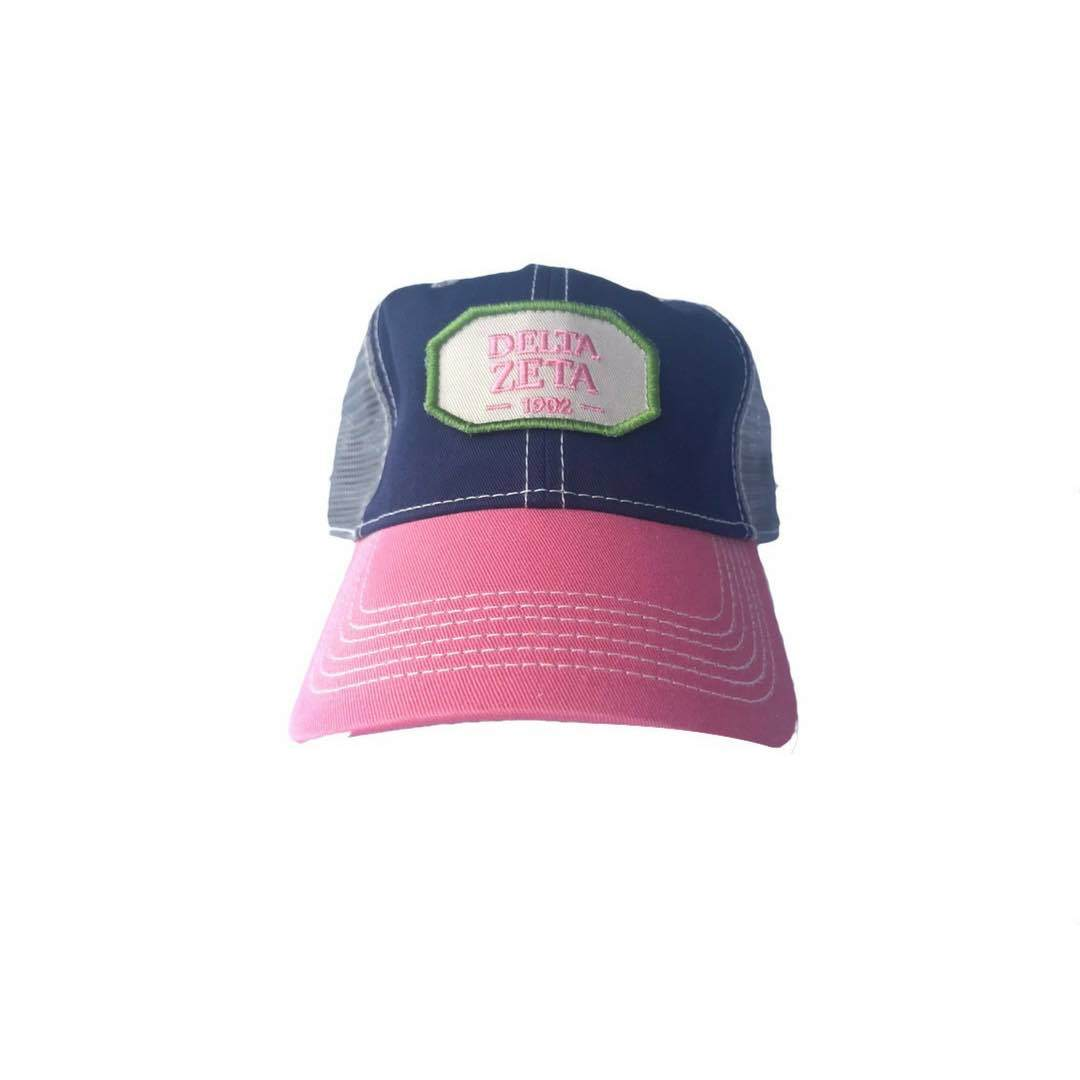 Delta Zeta hat with Greek words and Greek Letters. Fun colorful trucker style. Shop #DeltaZeta Accessories. Perfect for bid day, big little, and more. Shop #DZ