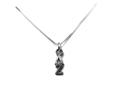 Delta Zeta Lavaliers sterling silver. Add a 16 in, 18 in, or 20 in sterling silver box chain. Is it a gift? Let us ship for you in a gift box tied with ribbon and a handwritten gift card.