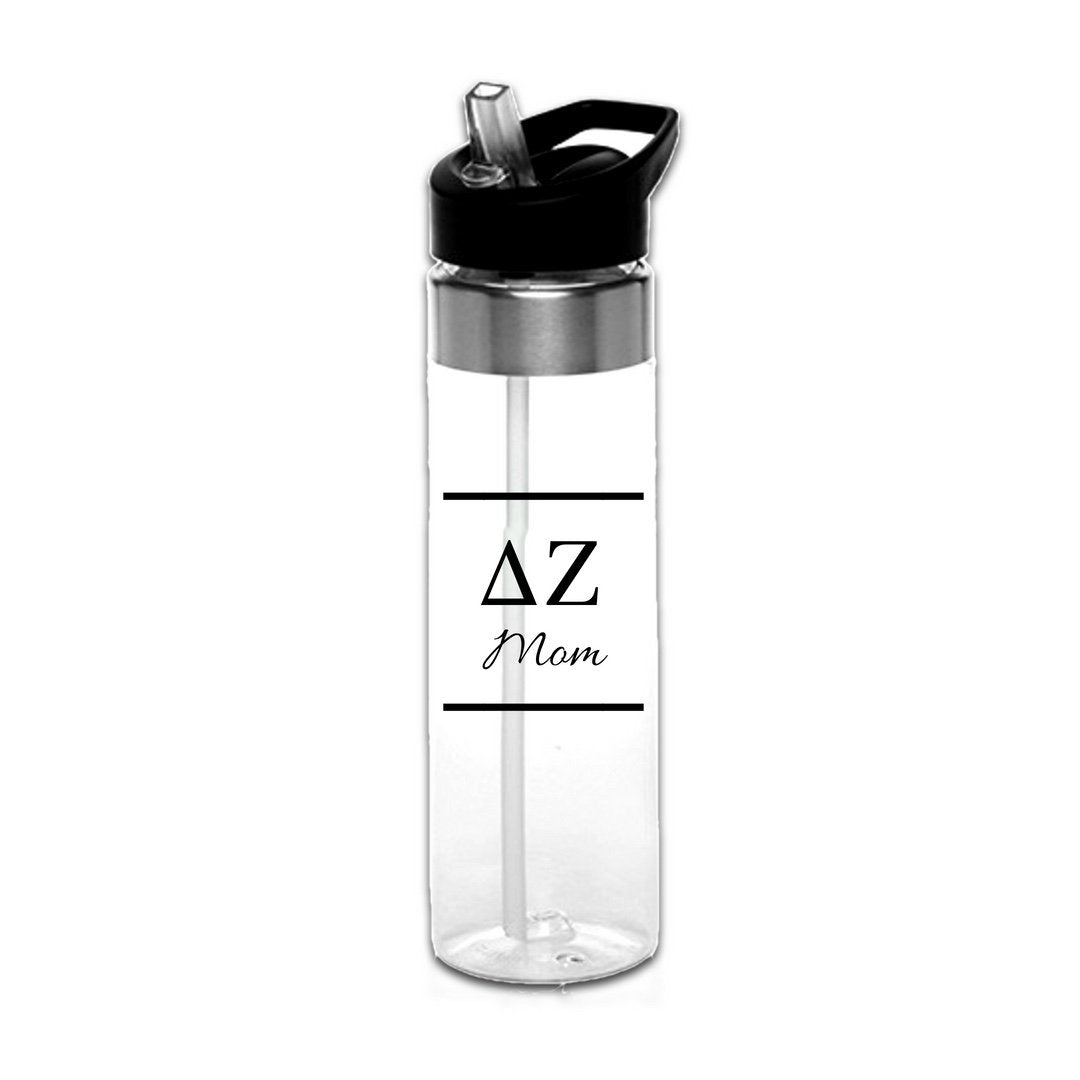 Delta Zeta Water Bottles with Greek Letters in black or gold with optional personalization. Super cute sorority gift filled with jelly beans or their favorite candy. Features screw off lid so fill it to the top with ice!