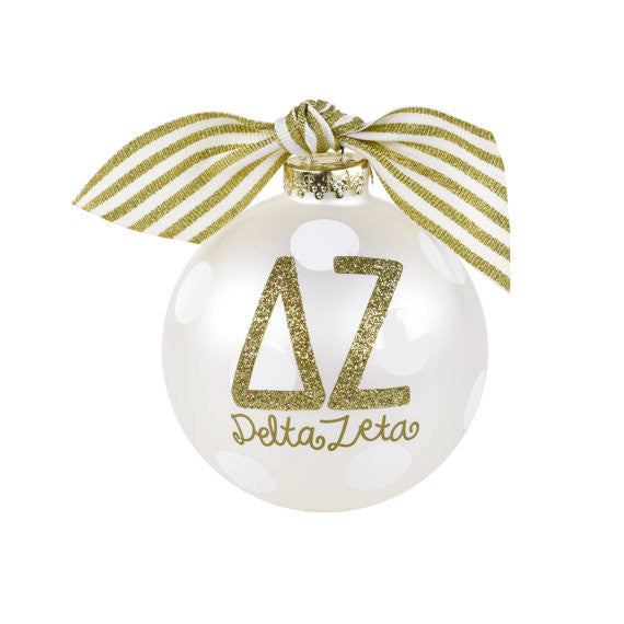 Delta Zeta Ornament Gold Glitter . Optional Personalization