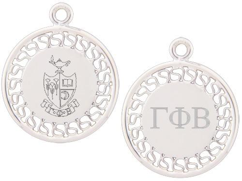 Gamma Phi Beta charm. Reversible filigree design with Greek Letters & Greek Crest.