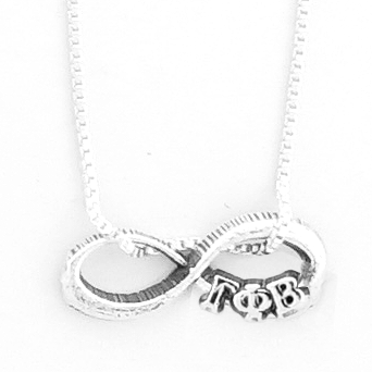 Gamma Phi Beta infinity charm in sterling silver with Greek letters.