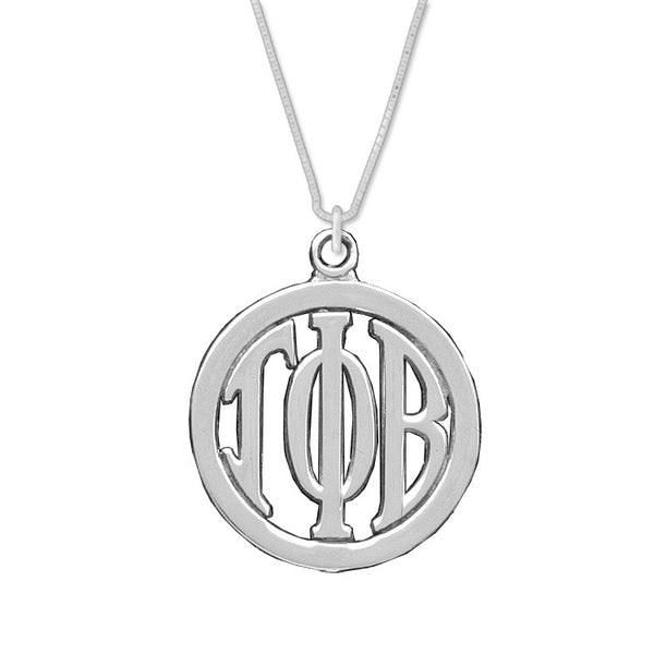 Gamma Phi Beta Charm: Large Greek Monogram in Beautiful Sterling Silver