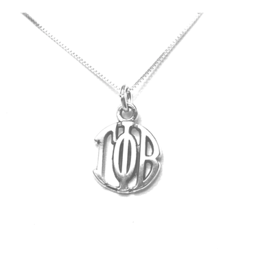 Gamma Phi Beta Charm Sterling Silver Monogram Circle Drop. Chains available.