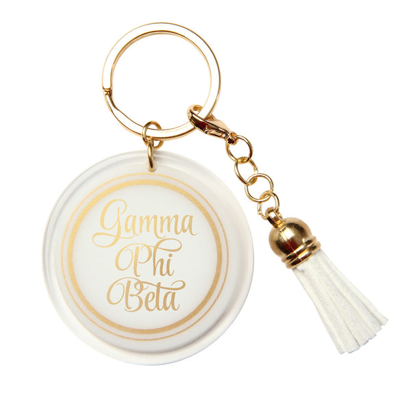Gamma Phi Beta Keychain White & Gold with Tassel