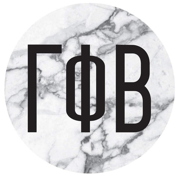 Gamma Phi Beta Marble round sticker and decal. Cute as a bumper sticker, on a notebook, on a laptop, on a window. Affordable alumnae and big little gifts.