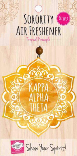 Kappa Alpha Theta air freshener, tropical pineapple for your sorority car or dorm room