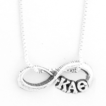 Kappa Alpha Theta infinity charm in sterling silver with Greek letters.