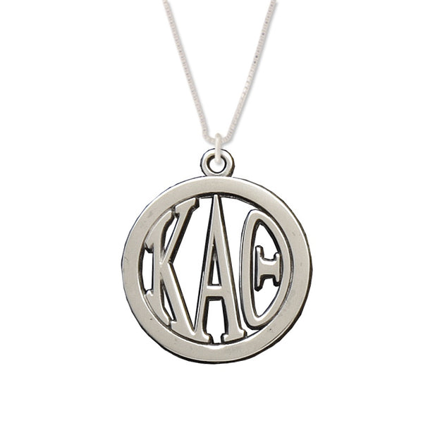 Kappa Alpha Theta Charm: Large Greek Monogram in Beautiful Sterling Silver
