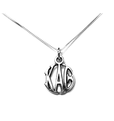 Kappa Alpha Theta Charm Sterling Silver Monogram Circle Drop. Chains available.