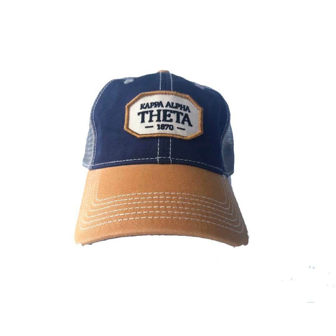 Kappa Alpha Theta hat with Greek words and Greek Letters. Fun colorful trucker style. Shop #KappaAlphaTheta Accessories. Perfect for bid day, big little, and more. Shop #Theta