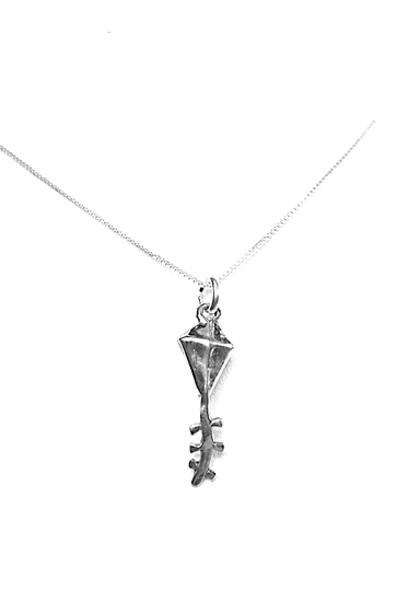 Kappa Alpha Theta Kite charm with tail. Sterling Silver. Also available, 16, 18 and 20 inch sterling silver box chains. Is it a gift? Add a gift box tied with ribbon and a handwritten gift card.