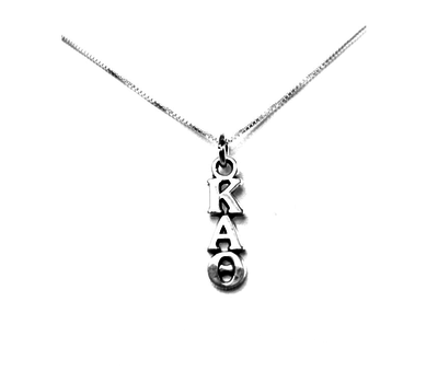 Kappa Alpha Theta Lavaliers sterling silver. Add a 16 in, 18 in, or 20 in sterling silver box chain. Is it a gift? Let us ship for you in a gift box tied with ribbon and a handwritten gift card.