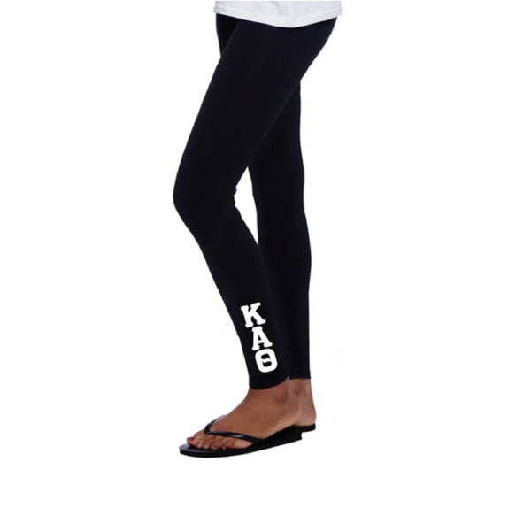 Kappa Alpha Theta Leggings with stitched greek letters completes this trendy, college perfect look.