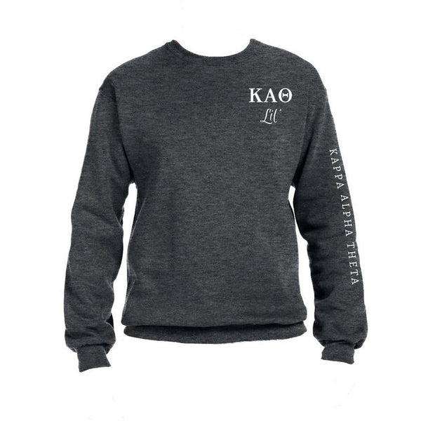 Kappa Alpha Theta Little Crew Sweatshirt with Greek Letters and Sorority Name Down Arm