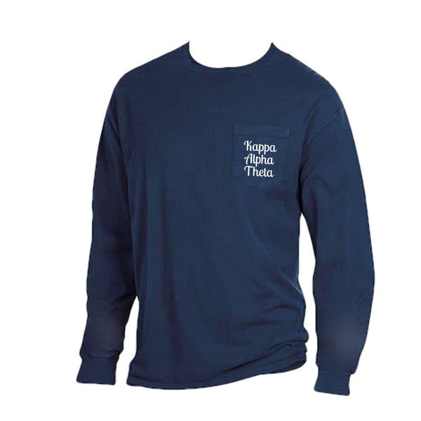 Navy blue Kappa Alpha Theta Long Sleeve Shirt with Greek Words on Pocket in cute retro style.