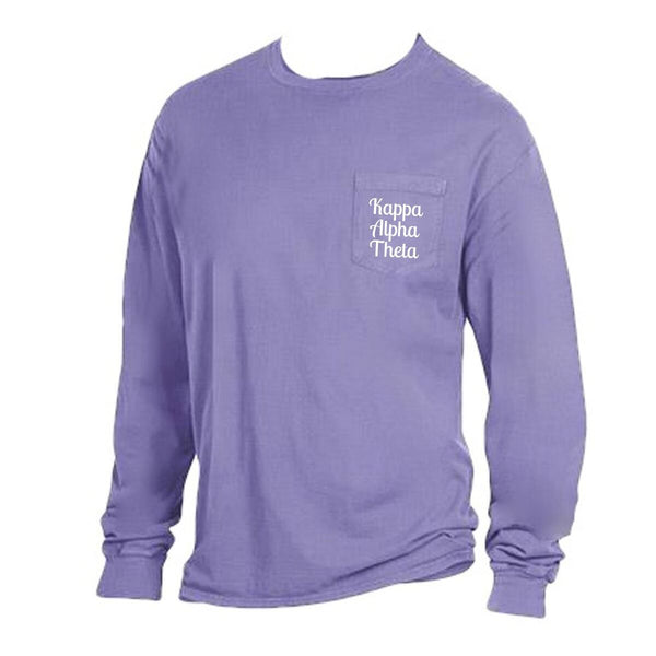 Purple Kappa Alpha Theta Long Sleeve Shirt with Greek Words on Pocket in cute retro style.