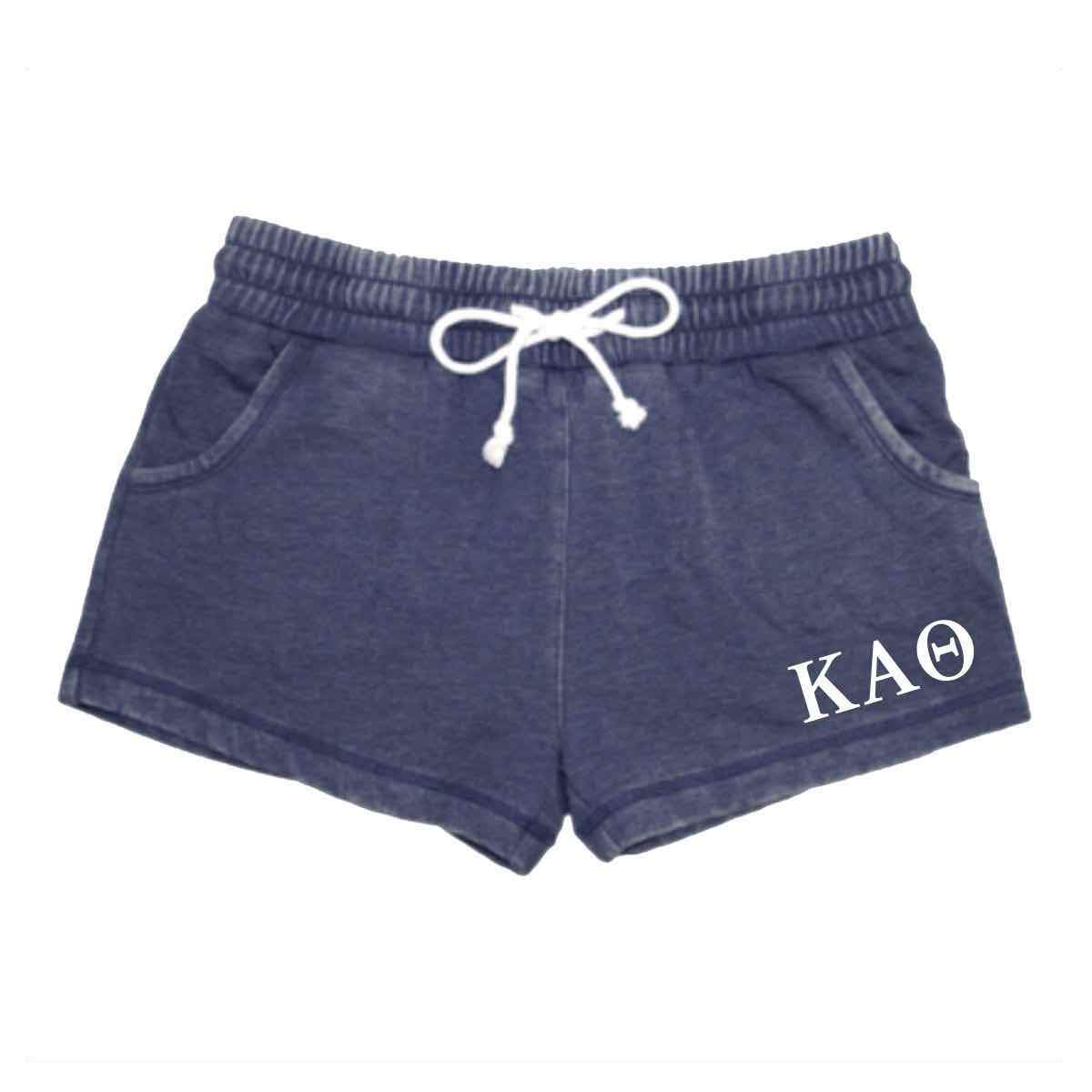 Blue Greek Lettered shorts with pockets