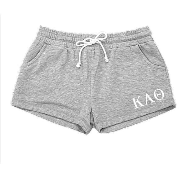 Kappa Alpha Theta shorts with Greek Letters, pockets and drawstring.