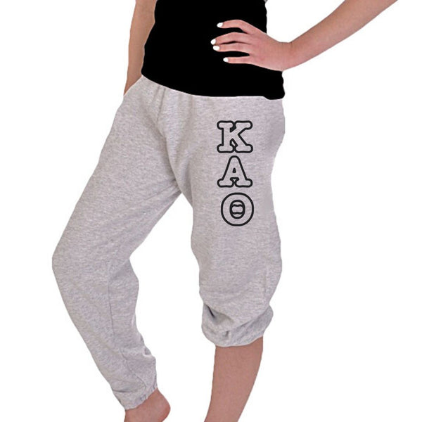 Kappa Alpha Theta sweatpants black Greek Letters, elastic legs, drawstring waist