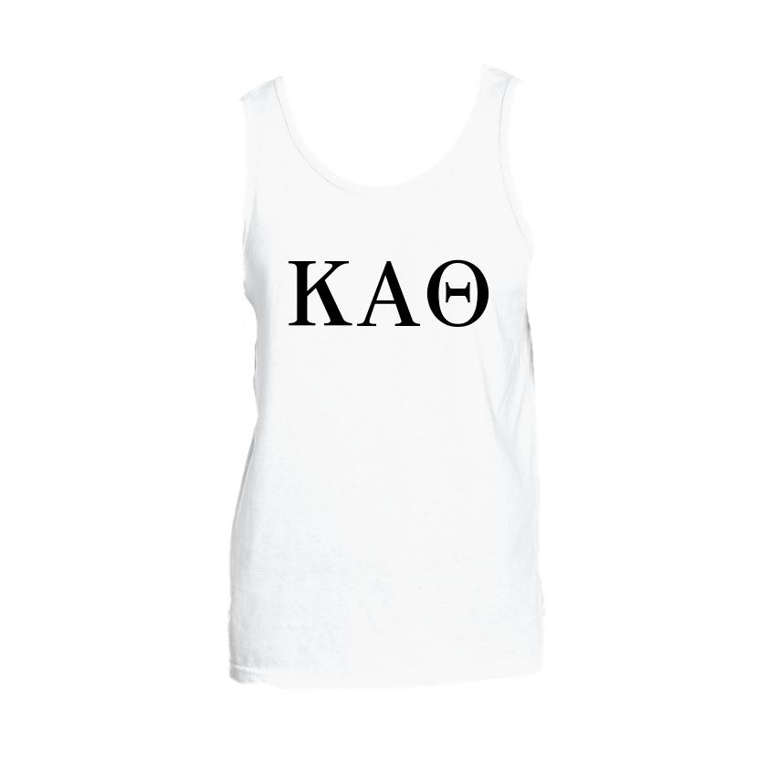 Kappa Alpha Theta Tank top with Large Greek Letters on front. Perfect sorority tank top for swimsuit coverup or oversized nightshirt.