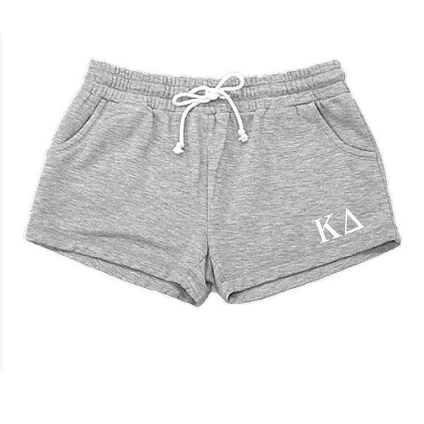 Kappa Delta shorts with Greek Letters, pockets and drawstring.