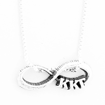 Kappa Kappa Gamma infinity charm in sterling silver with Greek letters.