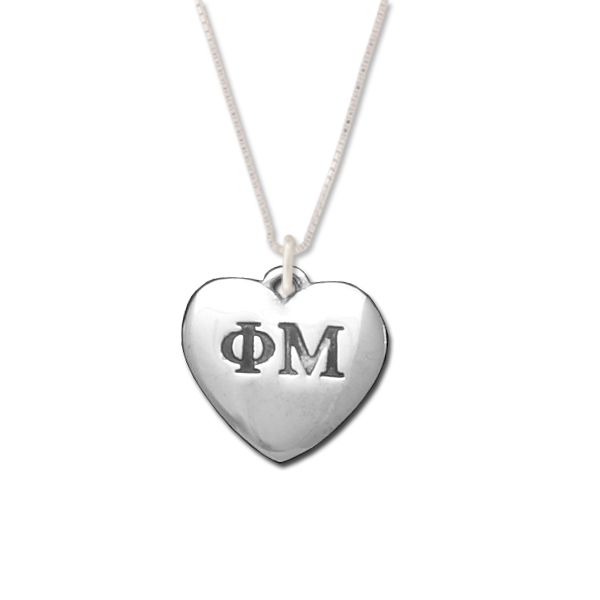 Phi Mu charm in sterling silver for a beautiful sorority necklace.